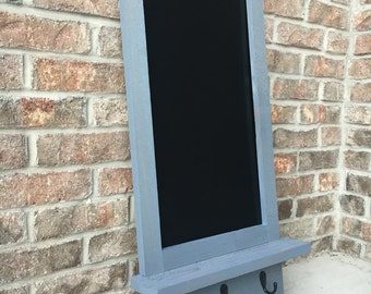 Stained Cedar Chalkboard w/ Shelf & Hooks