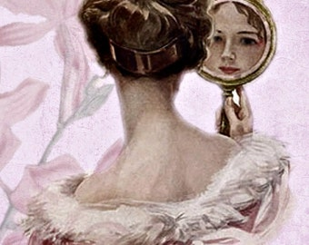 Victorian Woman Looking in Mirror Clip Art Papercrafting Scrapbooking