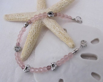Sea glass and hearts bracelet ~ petite pink