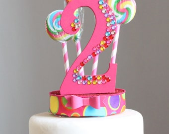 Candyland, Lollipop Cake Topper, Rainbow Rhinestone, Birthday (pink)