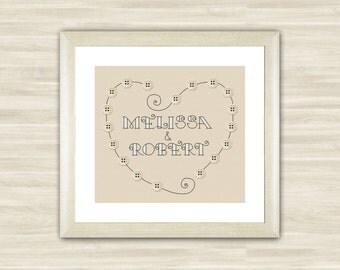 Wedding cross stitch pattern, heart customizable, modern pattern ...