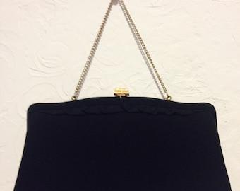 Vintage Handbag- Vintage Black Clutch Bag with Chain Strap