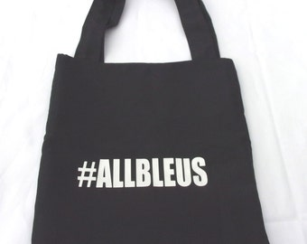 Tote bag by the supporter of rugby!  Black color! Handbag handles #allbleus XV de France