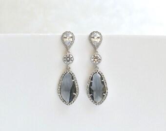 Gray Bridal Earrings Wedding Silver Cubic Zirconia Gray Glass Teardrop Silver Bridal Jewelry Bridesmaids Jewelry