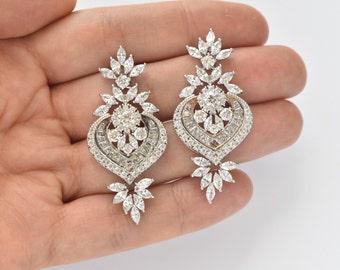 Wedding Earrings Cubic Zirconia Earrings Bridal Crystal CZ Earrings Bridal Jewelry Art Deco Earrings