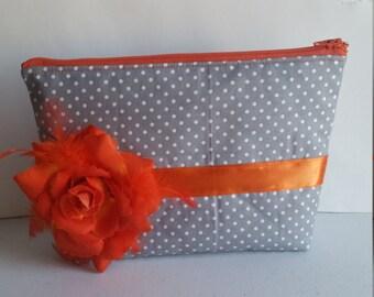 Gray, Polka Dots,  and Orange Orange Clutch, Zipper Pouch, Zipper Clutch