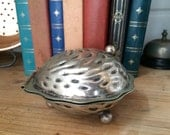 Silver Plate Oyster Pot  Condiment Pot  Trinket box  Air Planter