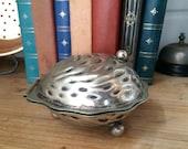 Silver Plate Oyster Pot  Condiment Pot  Trinket box  Air Planter
