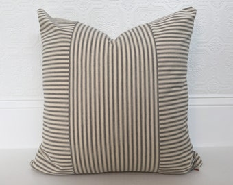 Grey Ticking Pillow Cover, Custom 20 x 20 Pillow Cover - Grey and Cream Horizontal and Vertical Ticking