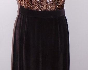 Vintage 1960s Sequin and Velvet Long Evening Dress