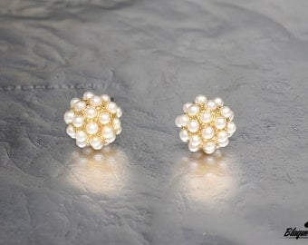 Gold Pearl Studded Post Earrings