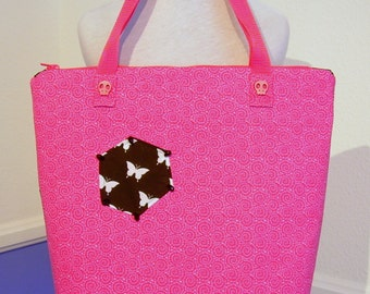 OOAK Homemade Zipper Tote Bag Pink Outer Black & White Lining