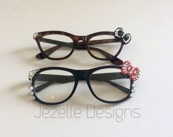 Custom Jeweled Hello Kitty Glasses - Swarovski Crystal Hello Kitty eyewear -Cateye Hello Kitty Bow glasses | Hand Jeweled by Jezelle Designs