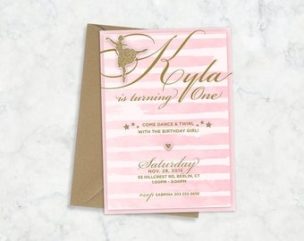 Printable Ballerina Birthday Party Invitation, Ballerina Themed Printable Birthday Party Invitation, Our Little Ballerina Printable Invite