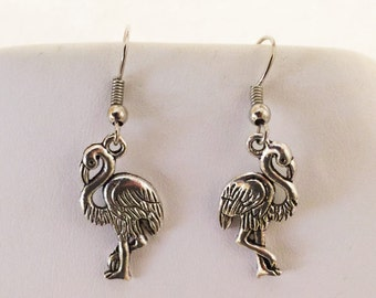 Flamingo Pierced Earrings Silver Tone