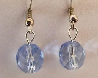 Light Blue Crystal Beaded Silver Tone Pierced Earrings
