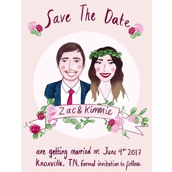 save the date illustrated caricature wedding by chloefaedesigns