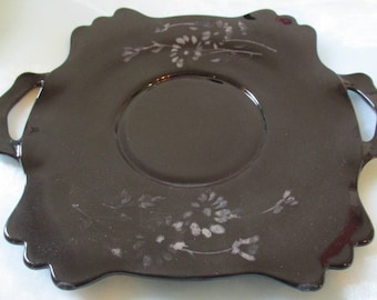 Rare Black Amethyst Scalloped Edge Sterling Overlay Square Serving Plate with Handles