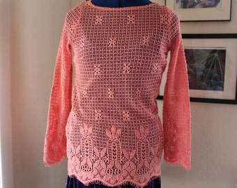 Vintage Mexican Pastel Pink Crocheted Blouse // Eyelet // Sweater