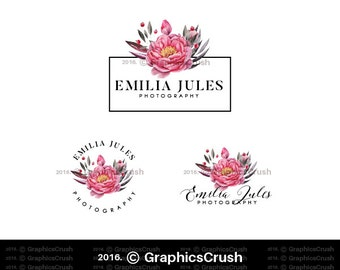 Watercolor Peonies Logo Watercolor Flowers Logo Photography Logo Event Planner Logo