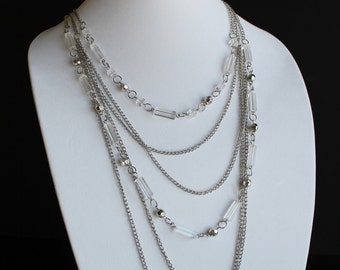 Vintage Six Strand Silver Chain Necklace