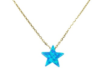 Star Necklace Blue Opal Gold Plated 925 Sterling Silver Fashion Jewelry For Women