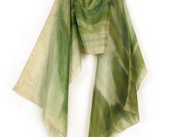 Hand Painted Silk Scarf Apple Green shawl painted/ Abstract scarf Floral motives scarf Long shawl scarf painted Luxury scarf green 17 by 70