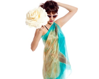 Hand painted silk scarf. Aqua beige floral sarong. Painted silk scarf. Caribbean scarf pareo. Scarf shawl painted. Painting on silk by Dimo