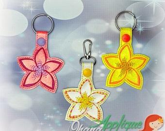 Plumeria Flower key chain, key fob, snap tab  The Hoop Designs Machine Embroidery Designs