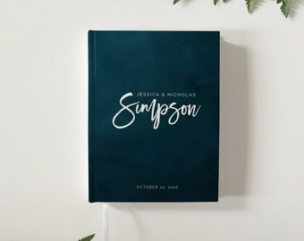 Navy Blue Watercolor Wedding Guest Book Modern Wedding Guestbook Custom Wedding Guest Book Personalized Guestbook Wedding Keepsake
