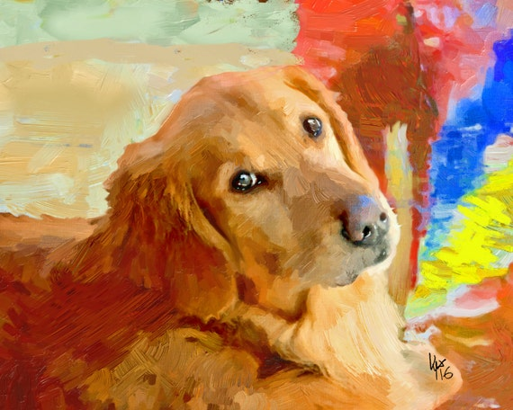 Golden retriever art golden retriever dog art art retriever for Dog painting artist