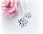 Silver Lotus Necklace lotus necklace Personalized Lotus Flower Necklace flower necklace Silver Flower Pendant Lotus Jewelry SFLOTFLO1