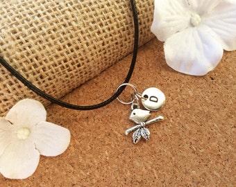 Bird Necklace, Bird jewellery, Bird lover Gift, Bird Charm Jewelry, Personalised jewelry, initial necklace, handmade necklace,