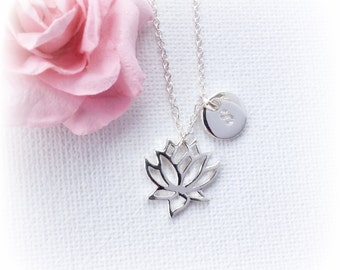 Silver Lotus Necklace, lotus necklace, Personalized Lotus Flower Necklace, flower necklace, Silver Flower Pendant, Lotus Jewelry, SFLOTFLO1
