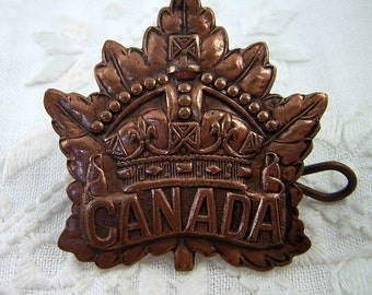 WWII Canada Maple Leaf Cap Badge: Canadian Military Uniform, 1946 Roden Bros, Original Flat Lugs, Bronze Tone, Large Letters, King's Crown
