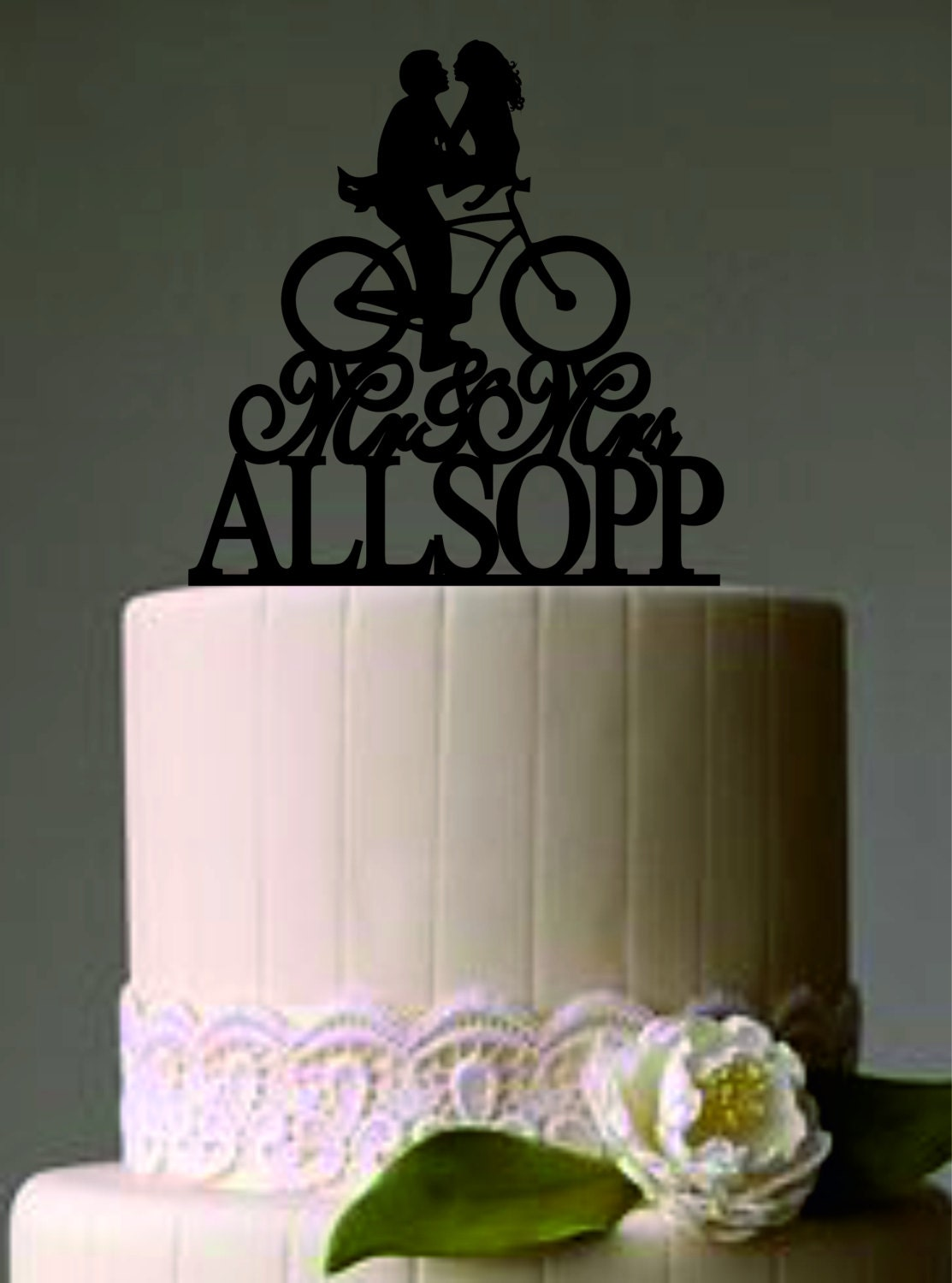 Custom Wedding Cake Topper Mr and Mrs a bicycle silhouette