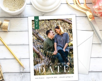 Save the Date Announcement   Bookmark   One Photo   Simple   Save the Date   Invitation   DIY   Printable