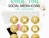 Gold Foil Social Media Icons