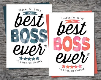 Boss's Day Card - Thanks for being the best boss ever - Printable Card
