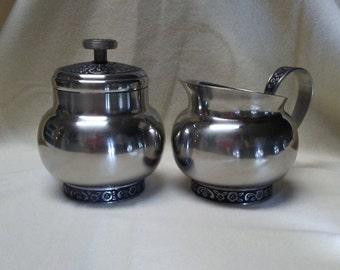 Vintage Oneida SUGAR BOWL and CREAMER Set, Stainless Steel