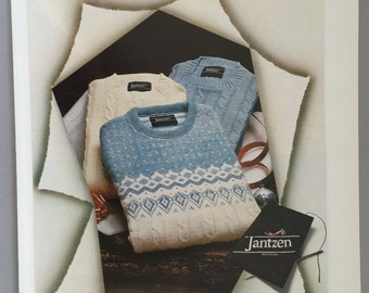 1980, 1981 Lot of 2 Jantzen Print Ads - Cableknit Sweaters - Christmas Ad