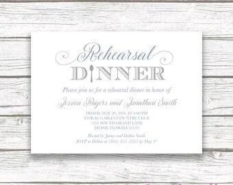 Rehearsal Dinner Invitation, Slate Blue Rehearsal Dinner Invitation, Gray Rehearsal Dinner Invite, Printable Rehearsal Dinner Invitation