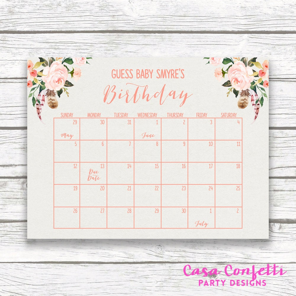 Guess The Birth Date Baby Shower Game: Boho Due Date Calendar Baby Shower Birthday By CasaConfetti