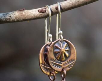 Stamped Copper Earrings, Round Earrings, Bead Earrings, Navajo Earrings, Dangle Earrings, Hammered Copper Earrings, Boho Earrings