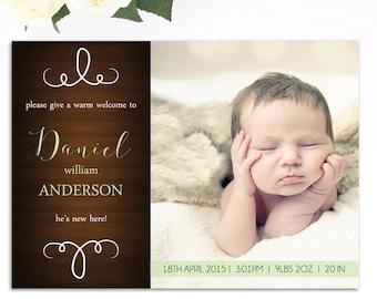 Boys Birth Announcement - Printable Birth Announcement - Baby Boy Birth Announcement - Birth Announcement - Come Say Hi