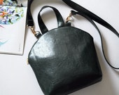 Navy green bag, vegan leather handbag, women everyday bag with pouch, women crossbody, vegan leather top handle bag