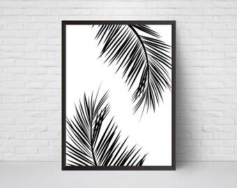 Palm Leaves Wall Art Print, Beach House Leaf Decor, Printable Tropical Black and White Modernism art poster, Leaf Art, Large print 16x20