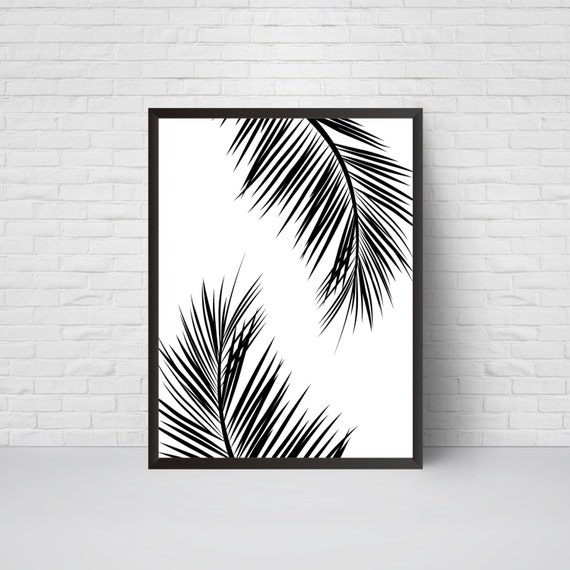 Palm leaves wall art print beach house leaf decor printable for Beach house prints