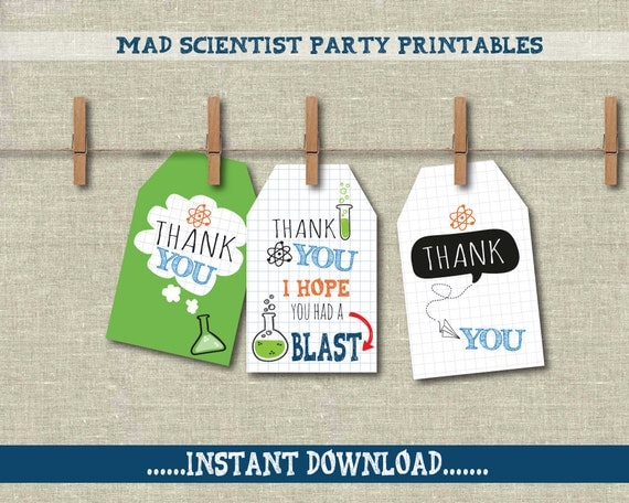 Science Tags: Mad Scientist Thank You Labels/tags Science Party Decor