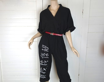 80s Jumpsuit in Martial Arts- 1980s Black & White Asian-Themed Romper- Cotton